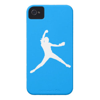 Blackberry Bold Fastpitch Silhouette White on Blue iPhone 4 Case