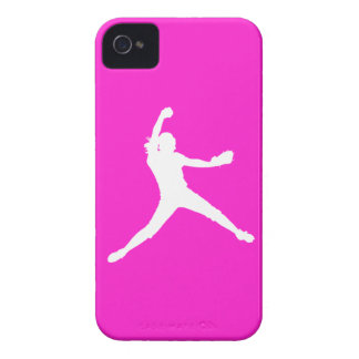 Blackberry Bold Fastpitch Silhouette White on Pink Case-Mate iPhone 4 Cases