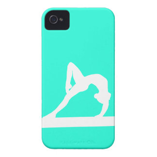 BlackBerry Bold Gymnast Silhouette White on Turquo iPhone 4 Case-Mate Case