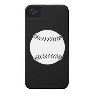 BlackBerry Bold Softball White on Black Case-Mate iPhone 4 Cases