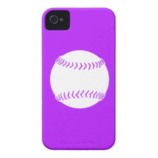 BlackBerry Bold Softball White on Purple Case-Mate iPhone 4 Case