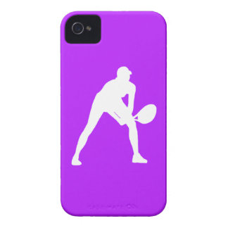 BlackBerry Bold Tennis Silhouette White on Purple iPhone 4 Cases