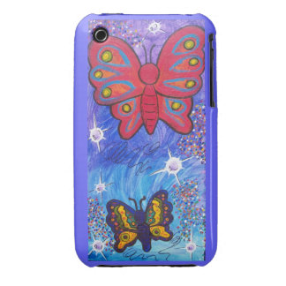 Blackberry Case-Red Butterfly and friend iPhone 3 Covers
