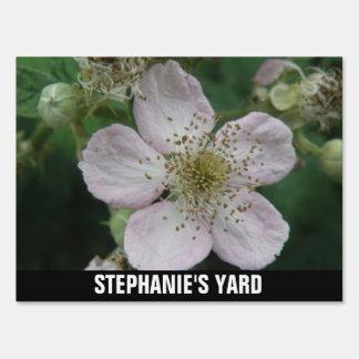Blackberry Flower Macro Custom Yard Sign
