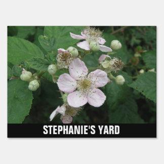 Blackberry Flowers Custom Yard Sign