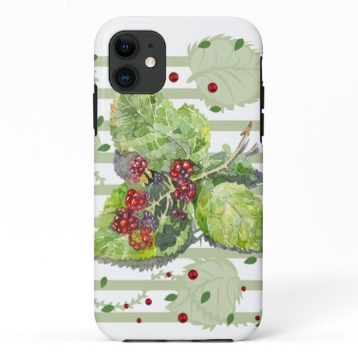 BlackBerry green and red  Watercolor on paper iPhone 11 Case
