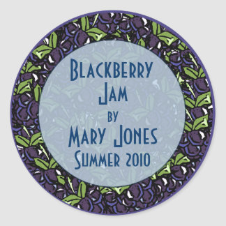 Blackberry Jam or Blackberry Preserves Label Classic Round Sticker
