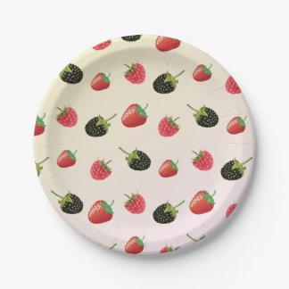 Blackberry, Strawberry, Raspberry: summer fruits Paper Plate