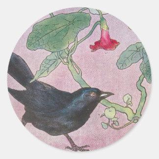 Blackbird and Nasturtiums Classic Round Sticker