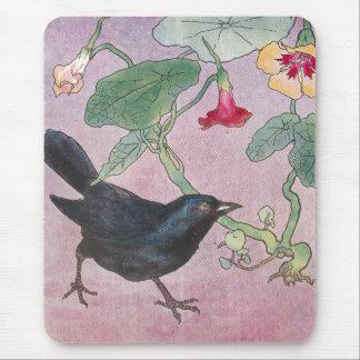 Blackbird and Nasturtiums Mouse Pad