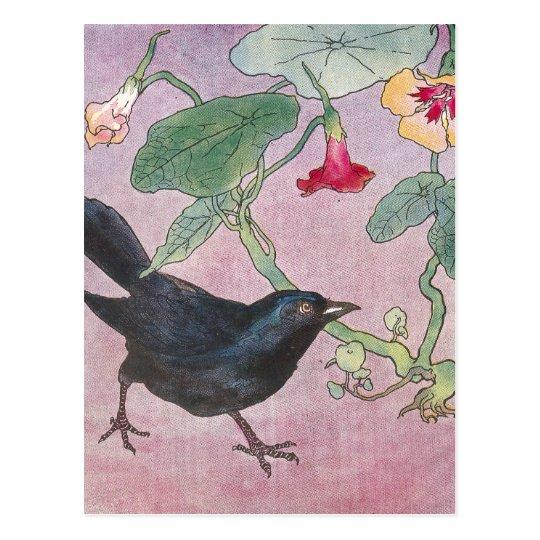 Blackbird and Nasturtiums Postcard
