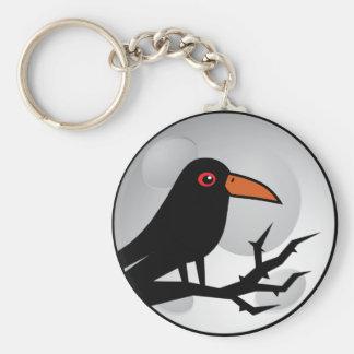 Blackbird Goth Raven/Crow Basic Round Button Keychain