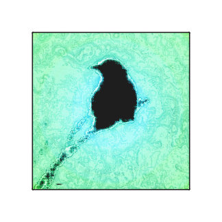 Blackbird Green Sky Canvas Print