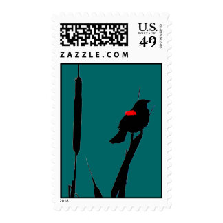 Blackbird in Cat-tails Stamps