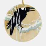 Blackbird in Snow, Ikeda Koson Double-Sided Ceramic Round Christmas Ornament