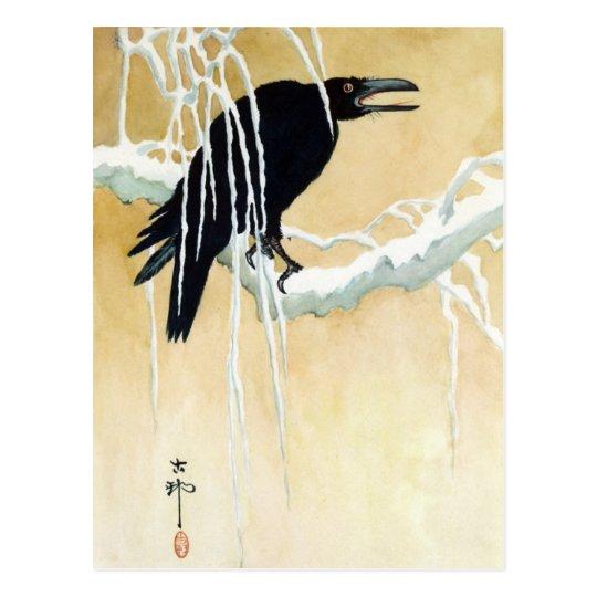 Blackbird in Snow, Ikeda Koson Postcard