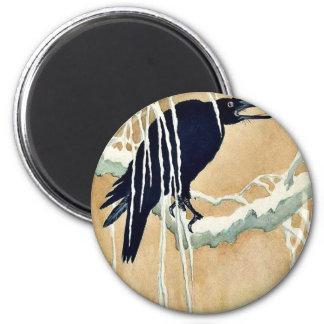 Blackbird in snow Ukiyoe 2 Inch Round Magnet