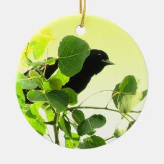 Blackbird Double-Sided Ceramic Round Christmas Ornament