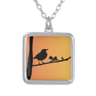 Blackbird Silhouette Silver Plated Necklace