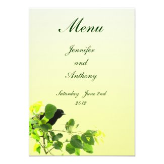Blackbird Wedding Menu Custom Invite