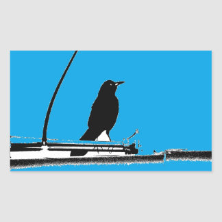 Blackbird with Antenna on Turquoise Rectangular Sticker