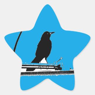 Blackbird with Antenna on Turquoise Star Sticker
