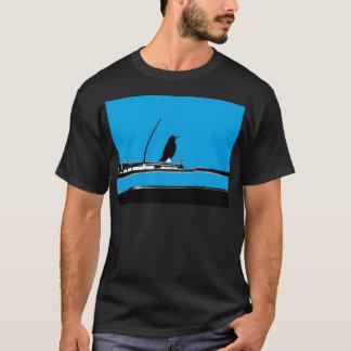 Blackbird with Antenna on Turquoise T-Shirt