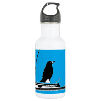 Blackbird with Antenna on Turquoise Water Bottle