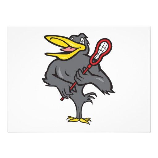 Blackbird With Lacrosse Stick Cartoon Invite