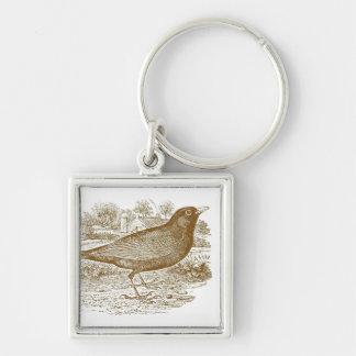 Blackbird Woodcut Keychain