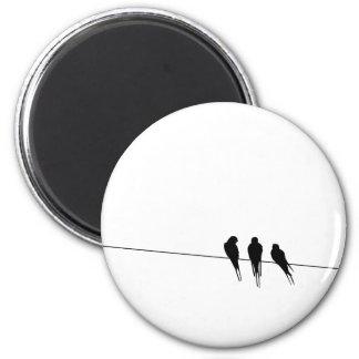 Blackbirds Silhouette on Wire 2 Inch Round Magnet