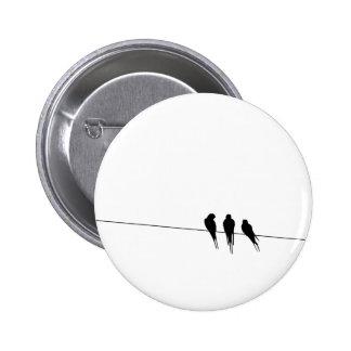 Blackbirds Silhouette on Wire Pinback Button