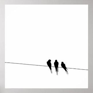 Blackbirds Silhouette on Wire Poster