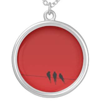 Blackbirds Silhouette on Wire Round Pendant Necklace