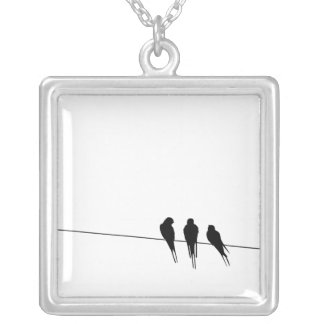 Blackbirds Silhouette on Wire Square Pendant Necklace