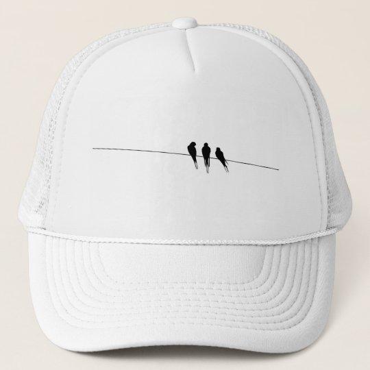 Blackbirds Silhouette on Wire Trucker Hat