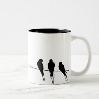 Blackbirds Silhouette on Wire Two-Tone Coffee Mug