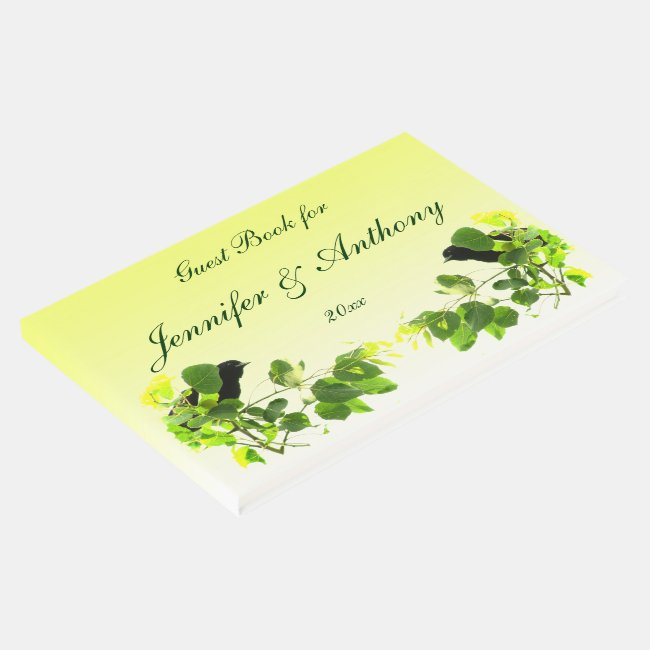 Blackbirds Wedding Yellow Guest Book