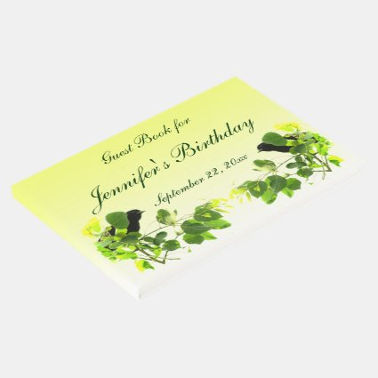 Blackbirds Yellow Birthday Party Guest Book