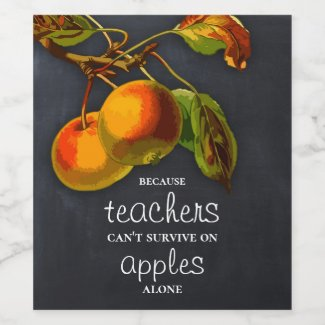 Blackboard Apple Teacher Appreciation Wine Label