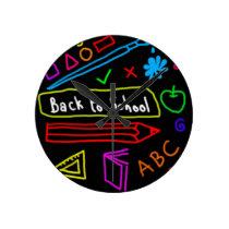 Blackboard Back To School Round Clock
