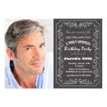 Blackboard Birthday Photo Invitation