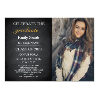 Blackboard Chalkboard Celebrate Graduation Party Card