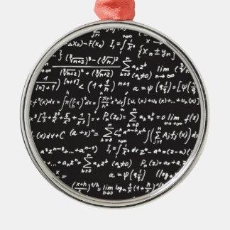 Blackboard Math Equations Round Metal Christmas Ornament