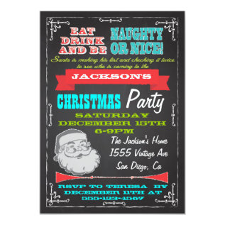 Blackboard Naughty or Nice Christmas Party Invites at Zazzle
