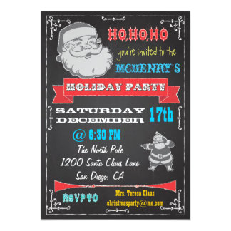 Blackboard Retro Santa Holiday Party Invitations