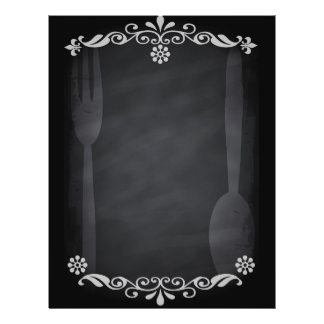 "Blackboard Sketch Menu Food Fork Spoon 8.5"" X 11"" Flyer"