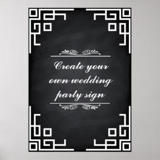 Blackboard Swirl White Border Wedding Party Sign Poster