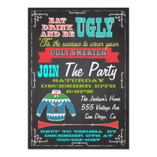 Blackboard Ugly sweater Christmas Party Invites