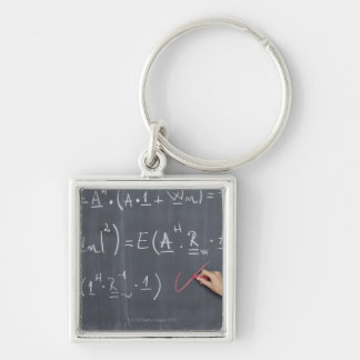 Blackboard with arithmetic's on it, close-up keychain